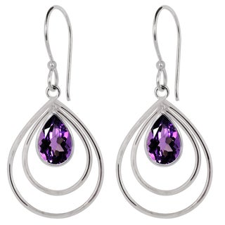 Orchid Jewelry Silver Overlay 3 1/7ct. Pear-cut Amethyst Fashion Hook Earrings - Purple