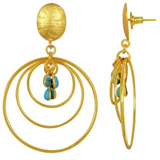 Orchid Jewelry Yellow Gold Overlay 4ct Created Turquoise Gemstone Dangle Earrings