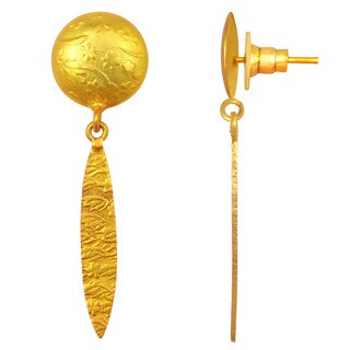 Orchid Jewelry Yellow Gold Overlay Textured Fashion Drop Earrings