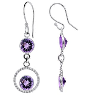 Orchid Jewelry Silver Overlay 4 1/2ct Genuine Amethyst Earrings