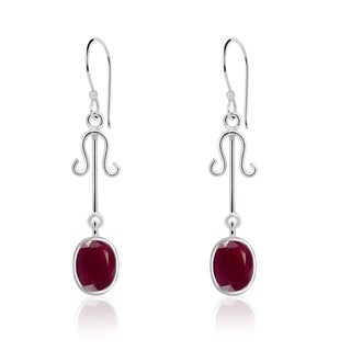 Orchid Jewelry Silver Overlay 7ct. Oval-cut Ruby Earrings