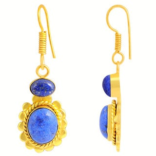 Orchid Jewelry Yellow Gold Overlay 10 3/5ct Genuine Lapis Earrings