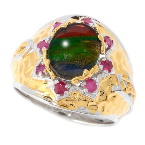 Michael Valitutti Ammolite and Ruby Ring