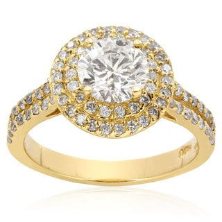 14k Yellow Gold 2ct TDW Halo Engagement Ring with 1ct Round Brilliant Center Diamond (H-I, I1-I2)