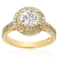 14k Yellow Gold 2ct. Halo Engagement Ring with 1ct. Round Brilliant Clarity Enhanced Center Diamond - White H-I