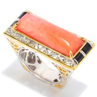 Michael Valitutti Salmon Coral and Black Spinel Ring