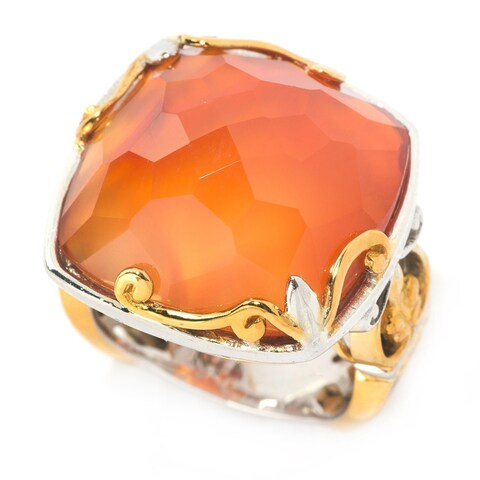 Michael Valitutti Two-tone Round Cushion Carnelian Ring