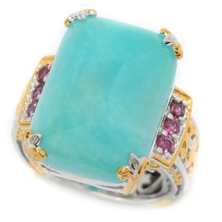 Michael Valitutti Amazonite and Pink Tourmaline Ring