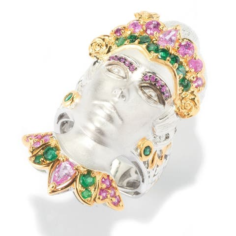 Michael Valitutti Hot Pink Sapphire and Emerald Ring