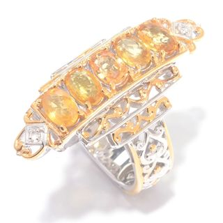 Michael Valitutti Oval Yellow Sapphire with Round White Sapphire Elongated Ring