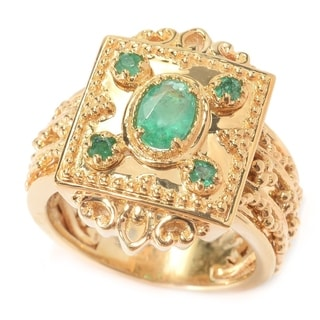 Michael Valitutti Yellow Plated Oval Etruscan Emerald Ring