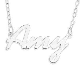 Sterling Silver 'Amy' Name Pendant on 16-inch Trace Chain