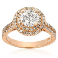 14k Rose Gold 2ct. Halo Engagement Ring with 1ct. Round Brilliant Clarity Enhanced Center Diamond - White H-I