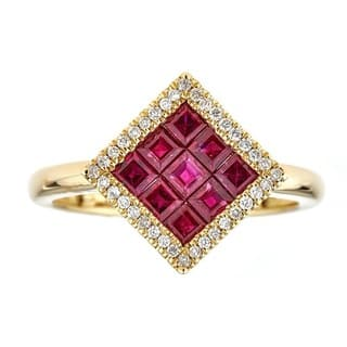 Anika and August 18k Yellow Gold Square-cut Mozambique Ruby and Diamond Ring|https://ak1.ostkcdn.com/images/products/11580611/P18521854.jpg?impolicy=medium