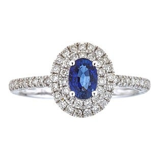 14k White Gold Ceylon Blue Sapphire and Diamond Bridal Ring by Anika and August