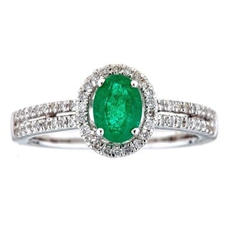 18k White Gold Zambian Emerald and Diamond Bridal Ring by Anika and August