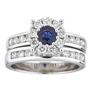 Anika and August 18k White Gold Ceylon Blue Sapphire and Diamond Bridal Ring