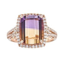 Anika and August 14k Rose Gold Cushion-cut Bolivianite Anahi Ametrine and Diamond Ring