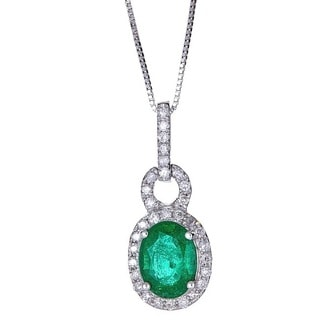 Anika and August 18k White Gold Oval-cut Zambian Emerald and Diamond Pendant