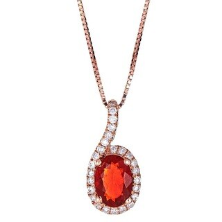 Anika and August 14k Rose Gold Oval-cut Mexican Fire Opal and Diamond Pendant