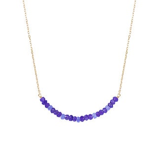 14k Yellow Gold Amethyst and Tanzanite Bar Necklace