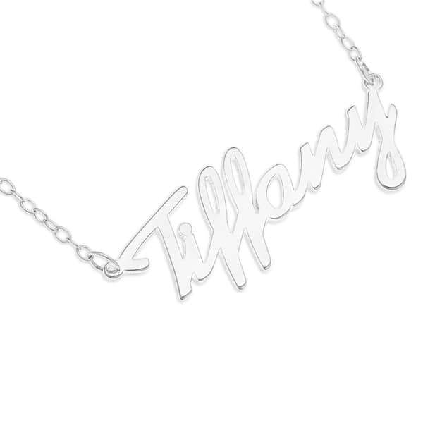 Shop Sterling Silver Tiffany Name Pendant Necklace White Overstock 11580660