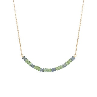 14k Yellow Gold Green Sapphire and Peridot Bar Necklace