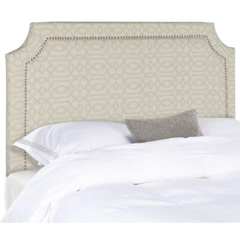 SAFAVIEH Skyler Taupe Linen Upholstered Headboard - Silver Nailhead (King)