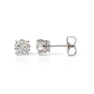 Charles and Colvard Sterling Silver 1 5/8ct DEW Forever Classic Moissanite Stud Earrings