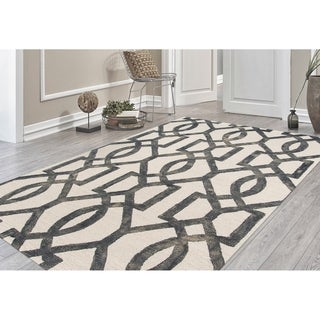 "Hand-Tufted Constantine White Gray New Zealand Wool Rug - 7'6"" x 9'6"""