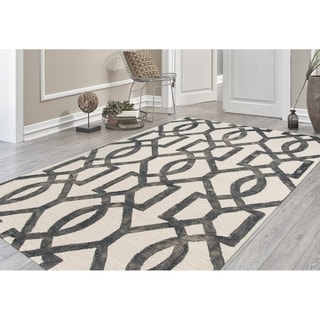 Hand-Tufted Constantine White Gray New Zealand Wool Rug (7'6 x 9'6 )