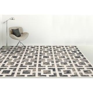 """Hand-Tufted Constantine Gray White New Zealand Wool Rug - 7'6"""" x 9'6"""""""