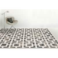 "Hand-Tufted Constantine Gray White New Zealand Wool Rug - 7'6"" x 9'6"""