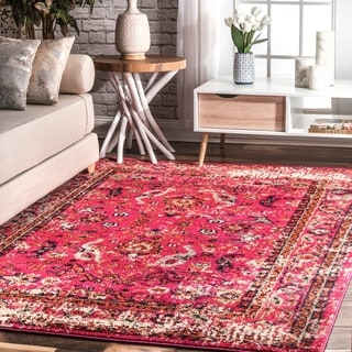 nuLOOM Traditional Vintage Floral Distressed Pink Rug (5'3 x 7'7)