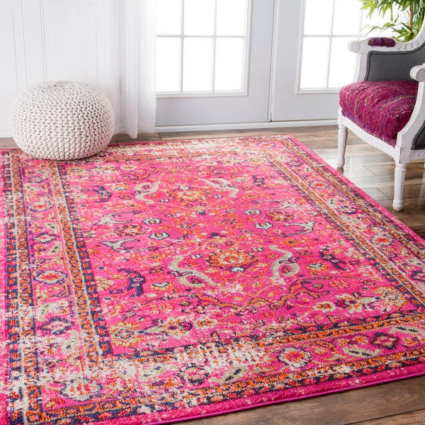 Nuloom Traditional Vintage Floral Distressed Pink Rug 5 3