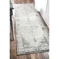 Maison Rouge Engle Traditional Abstract Vintage Light Grey Runner Rug  - 2'6 x 8'