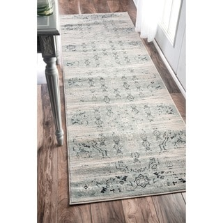 nuLOOM Traditional Vintage Abstract Blue Runner Rug (2'6 x 8')