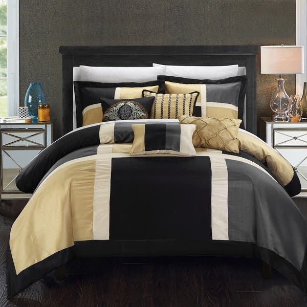 Shop Copper Grove Minesing Black Gold 7 Piece Comforter Set On