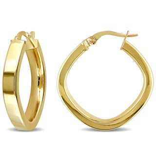 Miadora 10k Yellow Gold Square Geometric Italian Hoop Earrings
