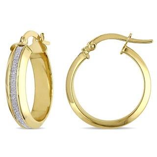 Miadora 18k 2-tone Yellow and White Gold Glitter-cut Italian Hoop Earrings