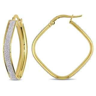 Miadora 18k 2-tone Yellow and White Gold Glitter-cut Square Geometric Italian Hoop Earrings