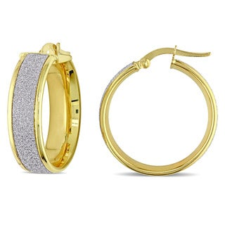 Miadora 18k 2-tone Yellow and White Gold Glitter-cut Italian Hoop Earrings