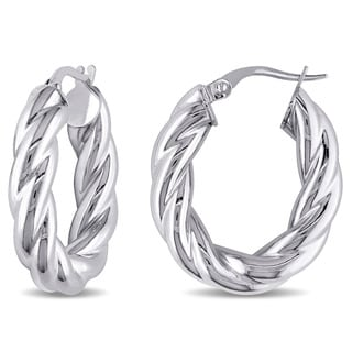 Miadora 10k White Gold Oval Twist Italian Hoop Earrings