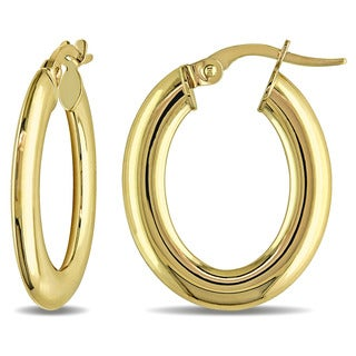 Miadora 10k Yellow Gold Slender Oval Italian Hoop Earrings