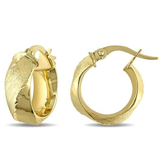 Miadora 10k Yellow Gold Twist Italian Hoop Earrings