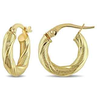 Miadora 10k Yellow Gold Satin Twist Italian Hoop Earrings