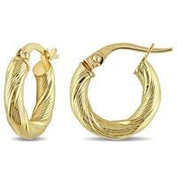 Miadora 10k Yellow Gold Satin Twist Italian Hoop Earrings