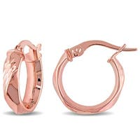 Miadora 10k Rose Gold Diamond-cut Twist Italian Hoop Earrings - Pink