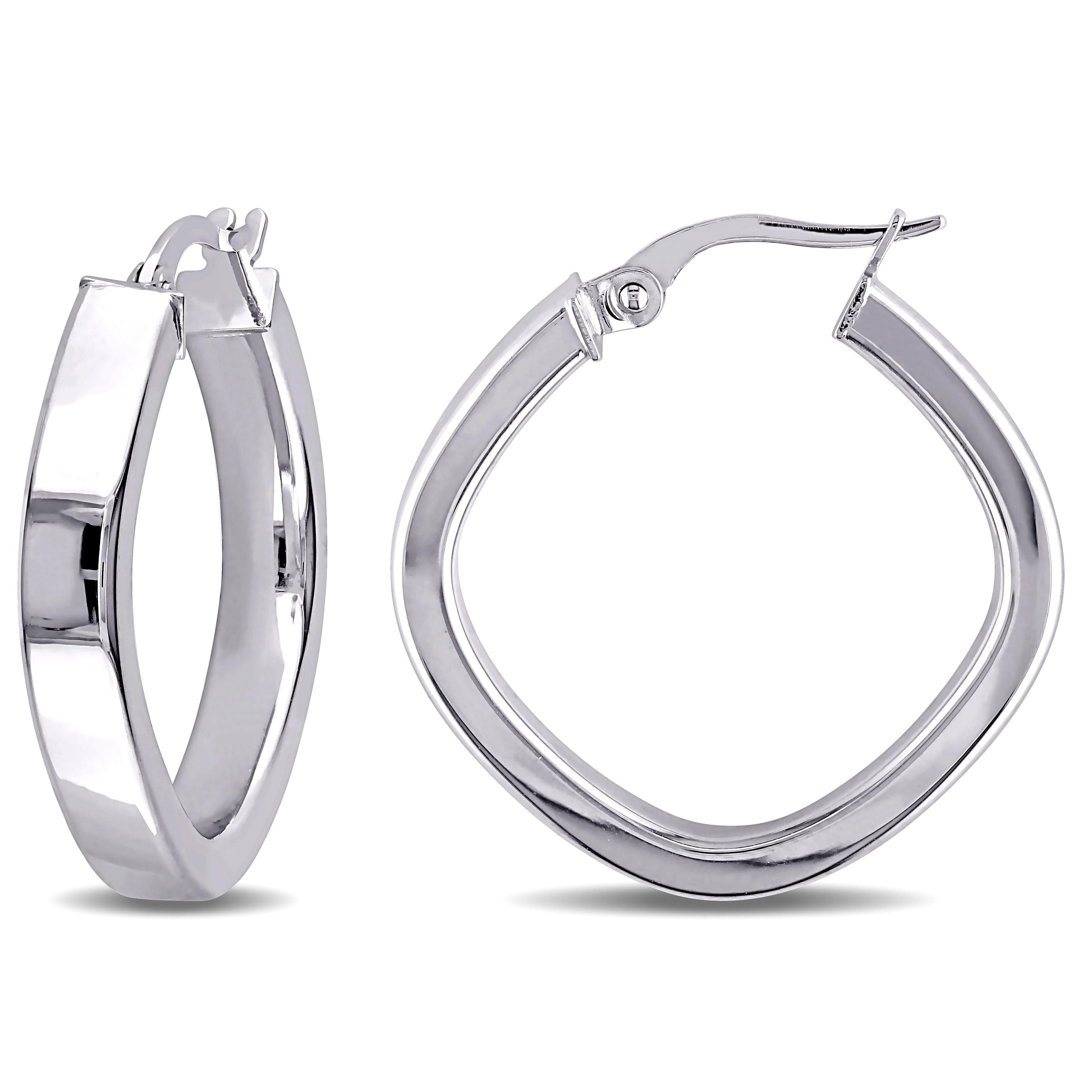 Miadora 10k White Gold Square Geometric Italian Hoop Earrings
