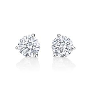 Andrew Charles 14k White Gold 1ct TDW Diamond Martini Stud Earrings ( H-I, SI2-I1)